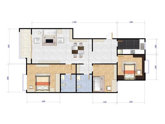 A户型3室2厅2卫1厨 125�O