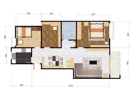 C户型3室2厅1卫1厨 110�O
