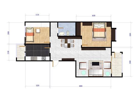 H2户型2室2厅1卫1厨 95�O