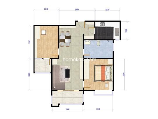 2房户型 85�O