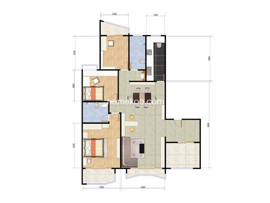 B1、B2栋2-13层01单元3室2厅2卫1厨 159.40�O