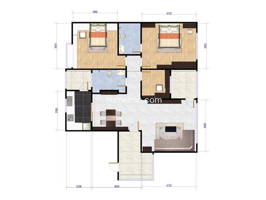 御府D1-01单元3室2厅2卫1厨 135.85�O