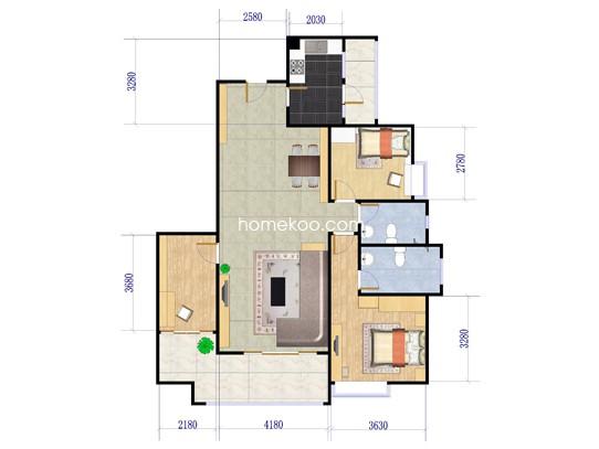 3栋01户型3室2厅2卫1厨 121�O