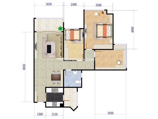 5栋306号户型3室2厅1卫1厨 95.25�O