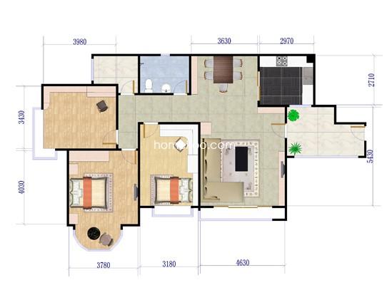 6座01、02单元3室2厅1卫96.82�O