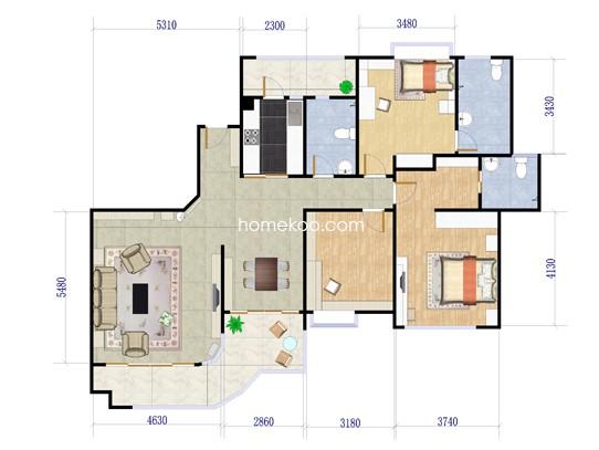 6座03、08单元3室2厅3卫155.77�O