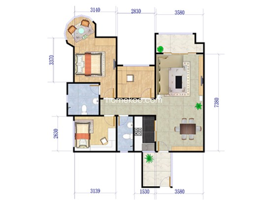 13座03、04单元3室2厅2卫1厨99�O