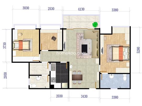 B座D_F型3房2厅2卫89�O