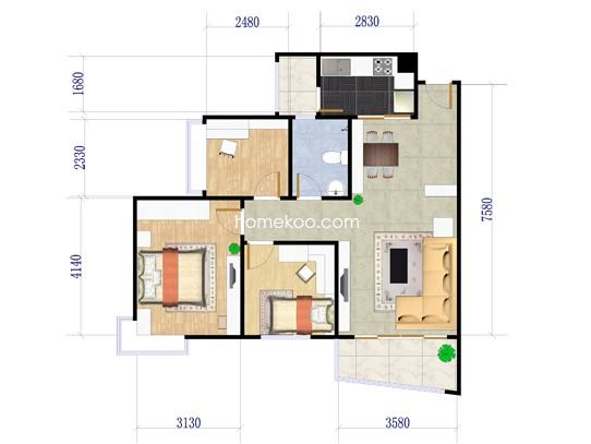 J330 A户型2室2厅1卫1厨 90.04�O