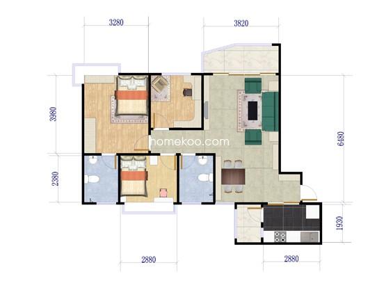 J330 B户型2室2厅1卫1厨 95.89�O