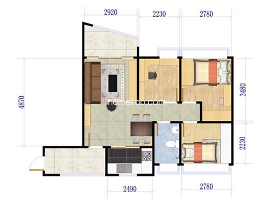 J360 C户型3室2厅1卫1厨 77.40�O