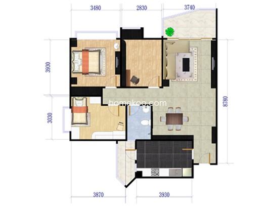 B15座05单元三房两厅 116�O