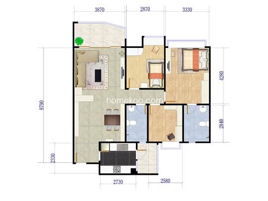 B15座06单元三房两厅 113�O