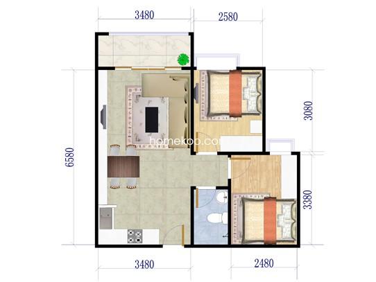 B栋2室2厅1卫1厨 64.34�O