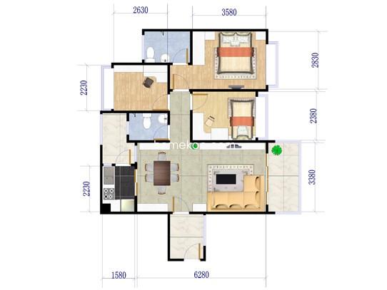 金山湖1号 2座2梯01户型3室2厅2卫1厨 128�O