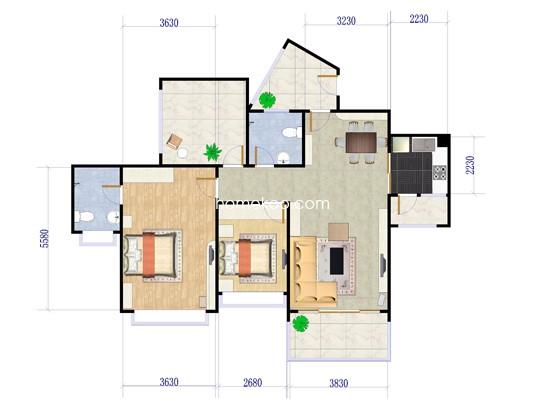 金山湖1号 2座2梯02户型3室2厅2卫1厨 103�O