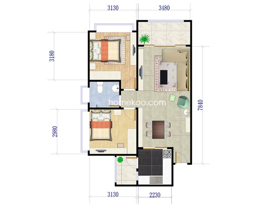 B1栋04户型2室2厅1卫1厨 72.84�O