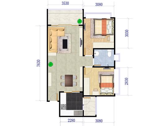 B1栋05户型2室2厅1卫1厨 72.84�O