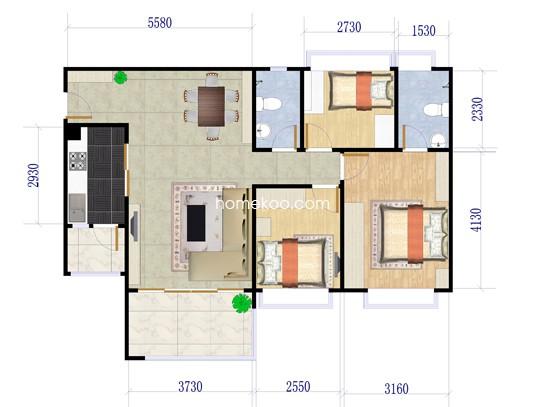 B1栋06户型3室2厅2卫1厨 98.93�O