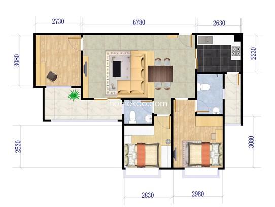 B2、B3栋01户型3室2厅2卫1厨 103.56�O