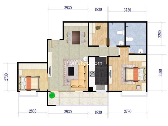 B1-1户型3室2厅2卫1厨 109.88�O