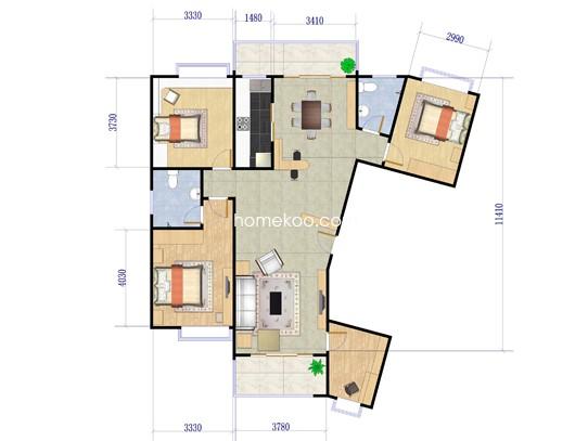 B1-2户型4室2厅2卫1厨 158.03�O
