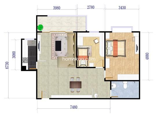 B1-3户型2室2厅1卫1厨 98.84�O