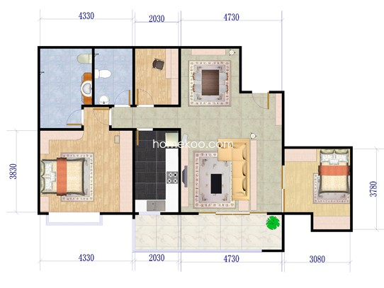 B2-2户型3室2厅2卫1厨 106.25�O