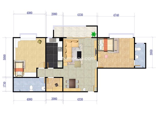 B2-3户型3室2厅2卫1厨 117.78�O
