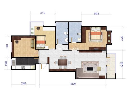 A1户型3室2厅2卫1厨 130�O