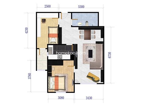 B2两居户型图2室1厅1卫1厨