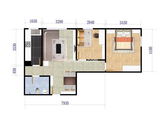 B4两居户型图2室1厅1卫1厨