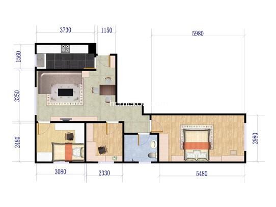 C`三居户型图3室1厅1卫1厨