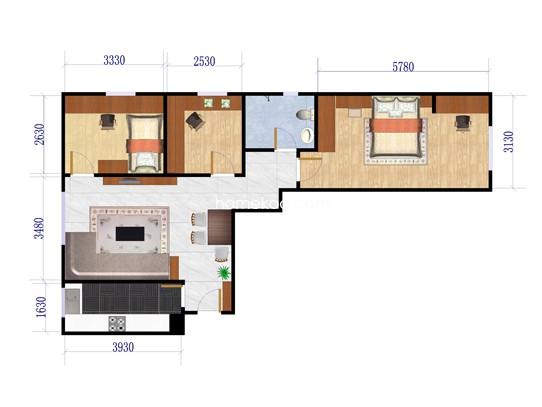 C三居户型图3室1厅1卫1厨