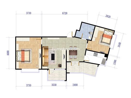 C1户型图2室2厅1卫1厨 91�O