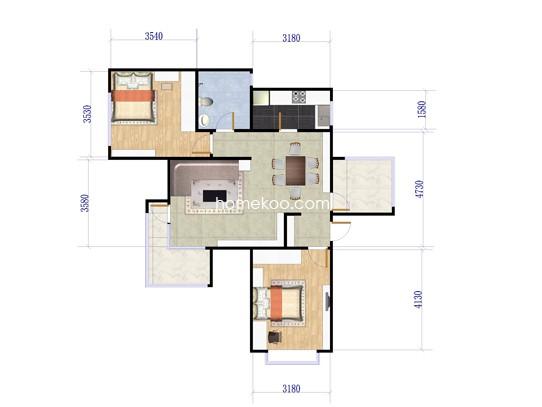C2户型图2室2厅1卫1厨 88�O