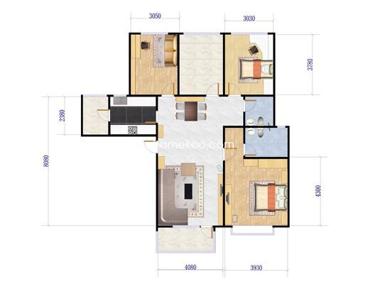 F1-02户型图3室2厅2卫1厨 130�O