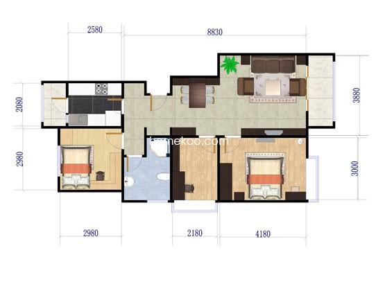 一期E户型3室2厅1卫1厨 90.62�O