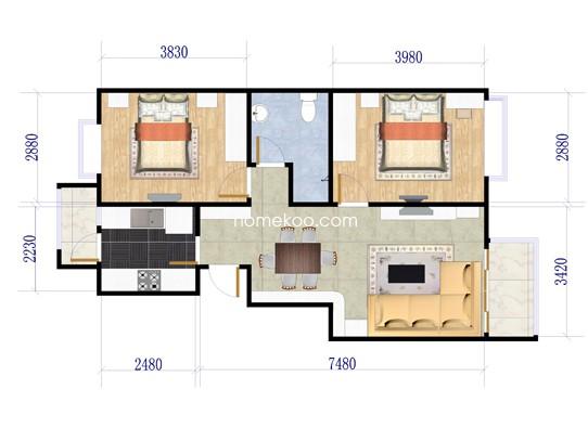 一期F户型2室2厅1卫1厨 80.27�O
