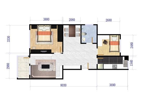 A1户型2室2厅1卫1厨 87�O