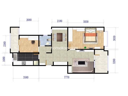 A2'户型2室2厅1卫1厨 95�O