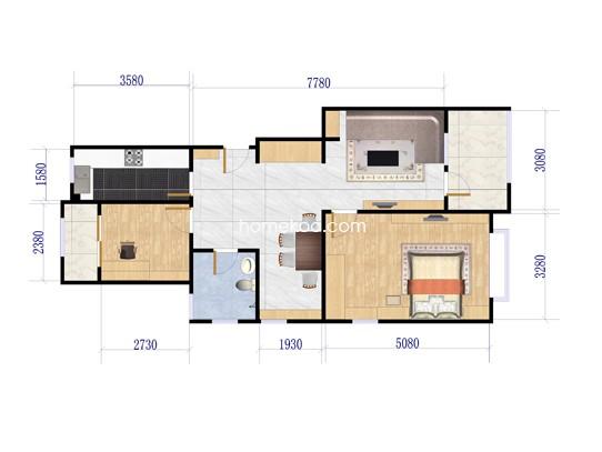 A2户型2室2厅1卫1厨 97�O