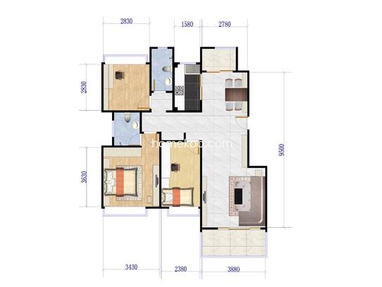 A户型3室3厅2卫1厨 127�O