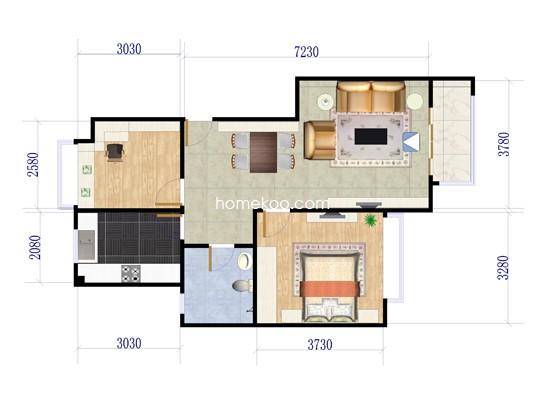 B3'户型2室2厅1卫1厨 91.80�O