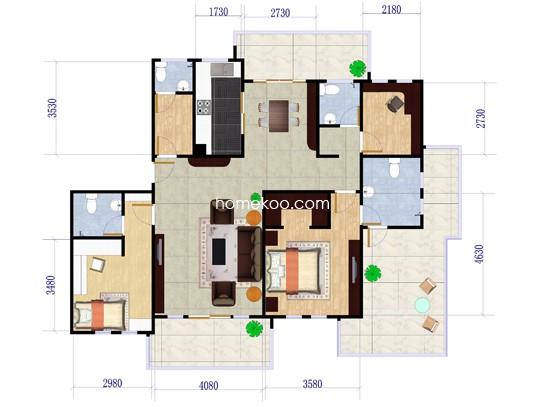 4#E1A3室2厅2卫1厨 161�O