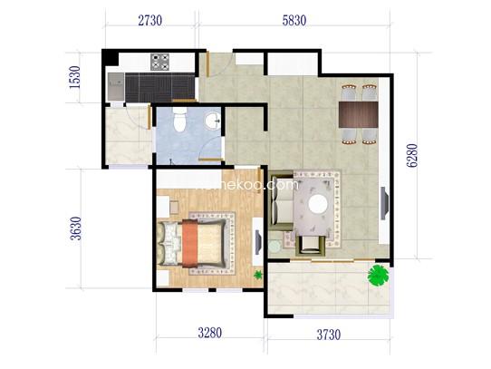 6#C21室2厅1卫1厨 74�O