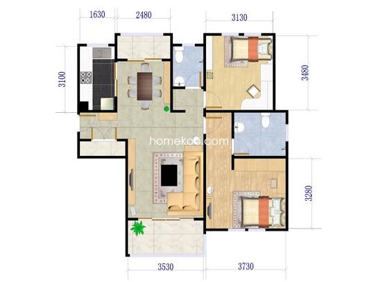 D3户型2室2厅2卫1厨 106�O