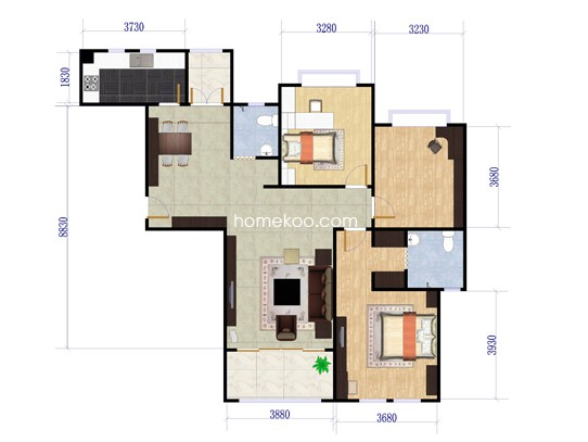 A3户型3室2厅2卫1厨 126�O