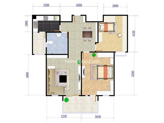 A22室2厅1卫1厨 102�O