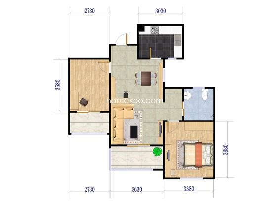 Ga-2户型图2室2厅1卫1厨 87�O